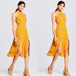 High Neck Mustard Front Slit Midi Dress in Floral